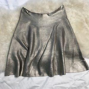 Zara Metallic Gold Knit Stretchy A Line Skirt